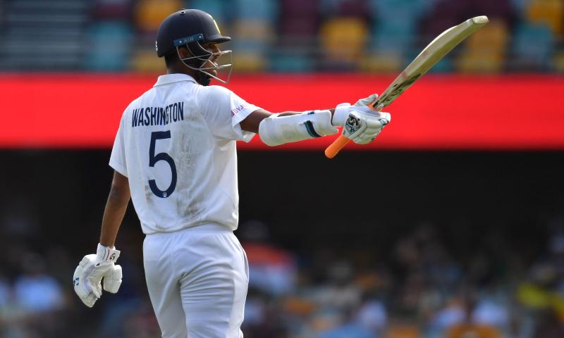 Washington Sundar of India celebrates his half century during day three of the fourth Test match between Australia and India at the Gabba in Brisbane, Australia, Jan 17, 2021. — Reuters