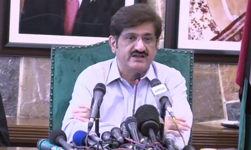 In this file photo, Sindh Chief Minister Murad Ali Shah addresses a press conference in Karachi. — DawnNewsTV/File