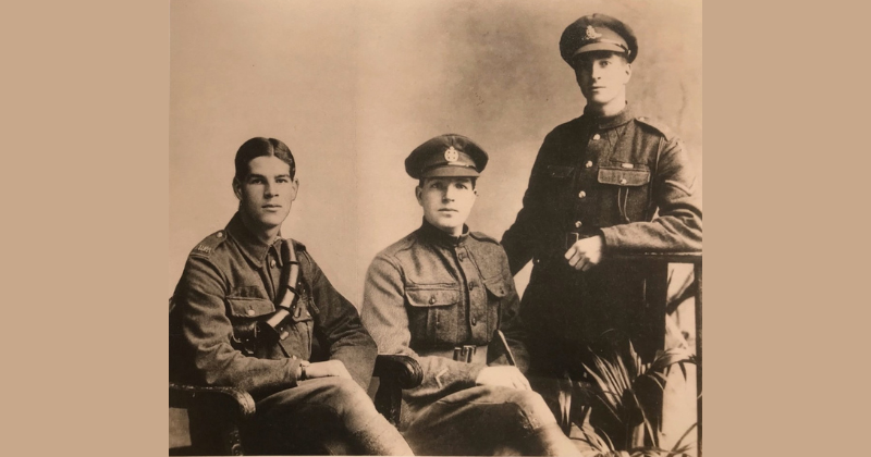 The last photo of the Saunders brothers together in 1916. A year later Christopher (centre) and Sidney (right) would be killed in the trenches and Horace would be a prisoner of war
