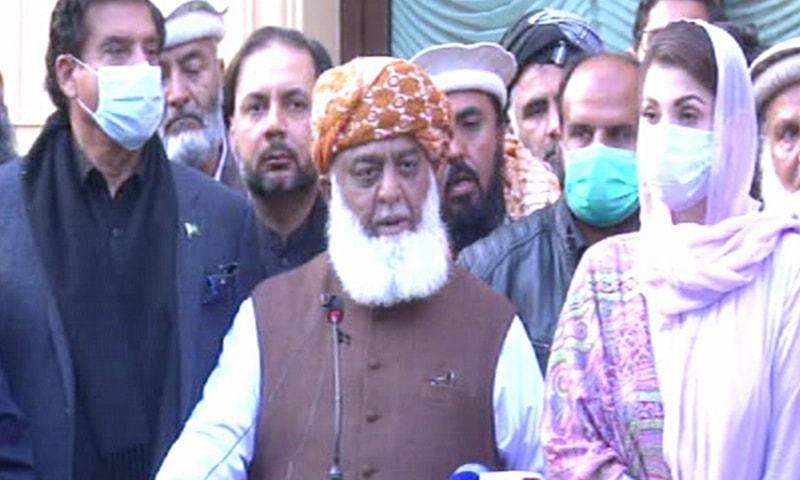 PDM leaders speak to the media in Islamabad on Monday. — DawnNewsTV