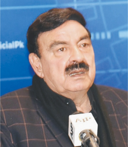 INTERIOR Minister Sheikh Rashid Ahmed addressing a press conference on Monday.—White Star