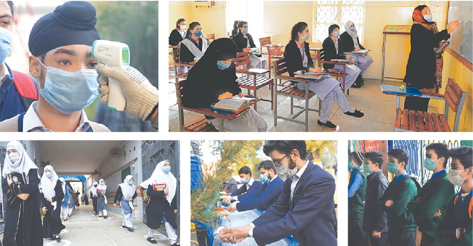 (Clockwise) A staff member checks temperature of a student in Peshawar as high and higher secondary schools reopened on Monday. Educational institutions were closed across the country due to the second wave of Covid-19. Students attend their class observing social distancing in Islamabad. Students wearing facemask pictured in Lahore after their temperature was checked. Students wash their hands before entering their classrooms at a school in Peshawar. Students arrive at their school in Karachi.—Shahbaz Butt, M. Arif / White Star / AFP