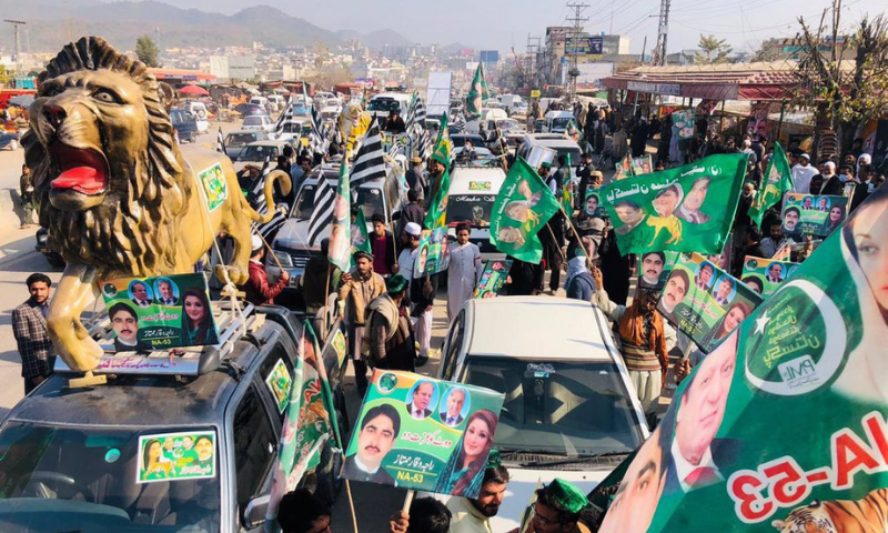 One of the rallies heading towards the Election Commission of Pakistan (ECP) office in Islamabad on Tuesday. — Photo courtesy: Twitter
