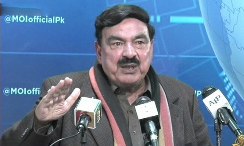 Minister for Interior Sheikh Rashid Ahmed addresses a press conference in Islamabad on Tuesday. — DawnNewsTV