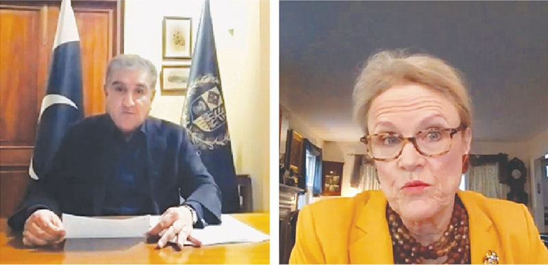 FOREIGN Minister Shah Mahmood Qureshi and (right) Robin L. Raphel address the webinar on Tuesday.—White Star