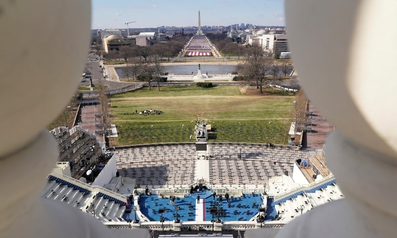 A view of the stage ahead of the 59th Presidential Inauguration on Capitol Hill in Washington, DC, US, January 19, 2021. — Reuters