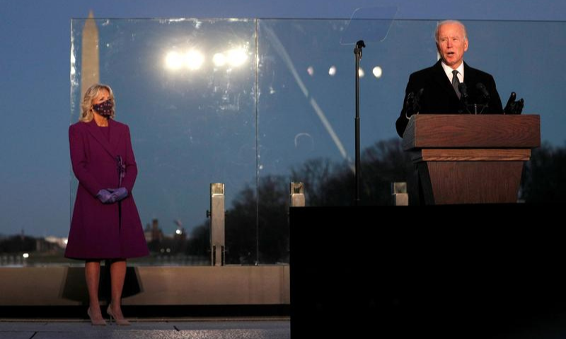 United States President-elect Joe Biden delivers remarks at a coronavirus  memorial event at the Lincoln Memorial in Washington, US on Tuesday. — Reuters