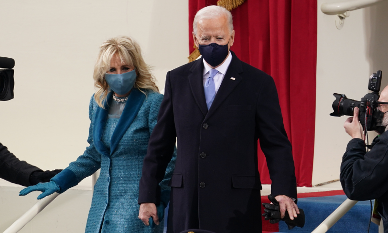 US President-elect Joe Biden and his wife Jill Biden arrive for the inauguration of Joe Biden as the 46th President of the United States on the West Front of the US Capitol in Washington on Wednesday. — Reuters