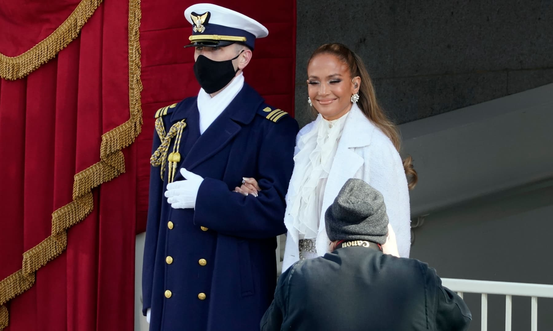 Jennifer Lopez arrives to perform during the 59th Presidential Inauguration at the US Capitol in Washington, Wednesday. — AP