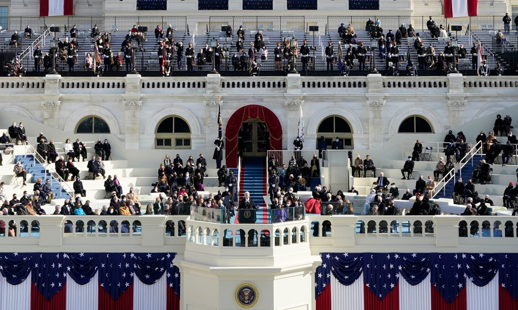 President Joe Biden delivers his inaugural address during the 59th Presidential Inauguration at the US Capitol in Washington, Wednesday. — AP