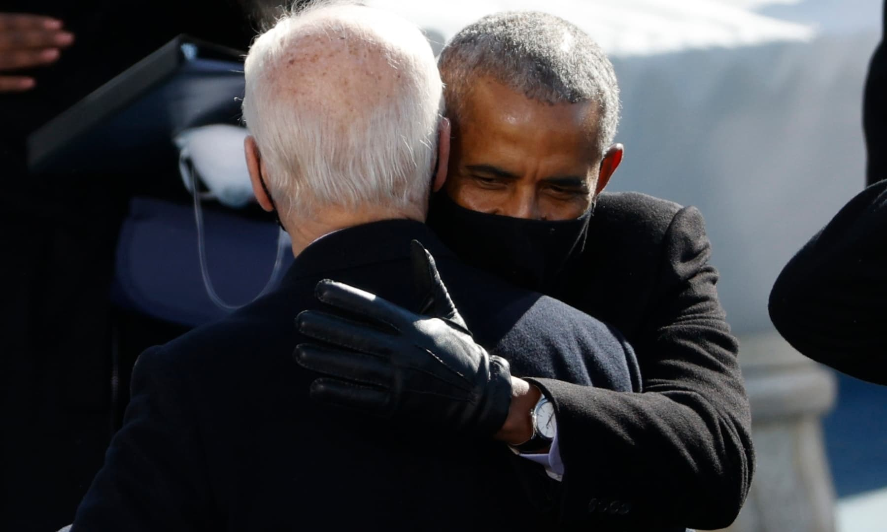 US President Joe Biden with former US president Barack Obama during the inauguration ceremony at the US Capitol in Washington. — Reuters