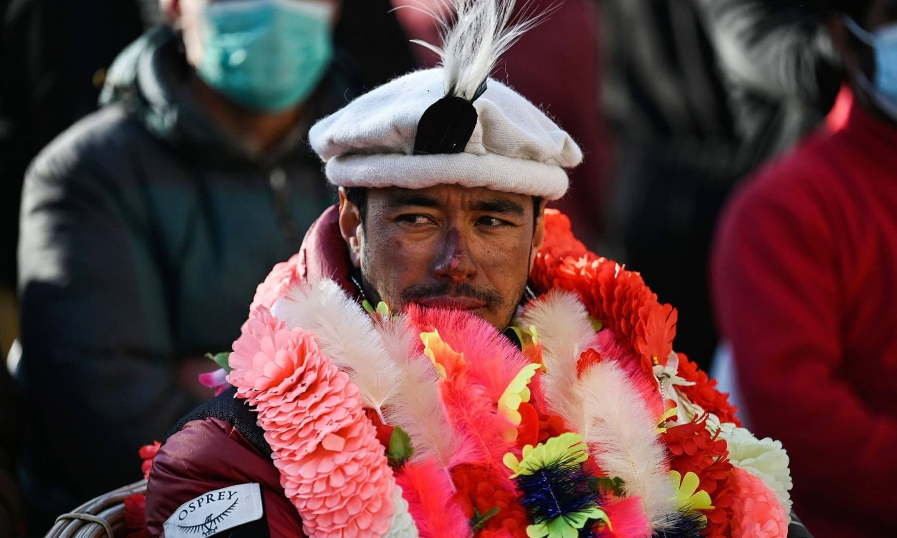 Nepal's climber Nirmal Purja at a welcome ceremony after becoming with his team, the firsts to summit Pakistan's K2 in winter, at Shigar district in Gilgit-Baltistan, Jan 20, 2021. — AFP