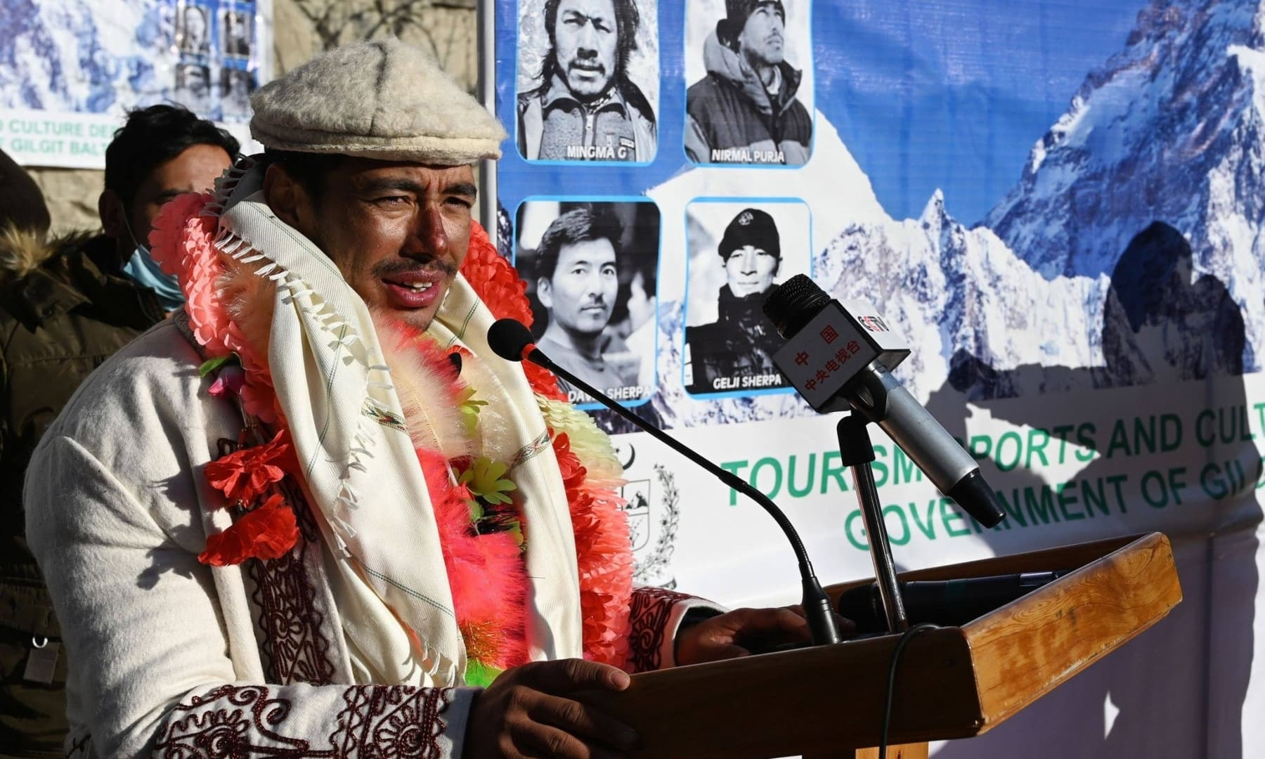Nepal's climber Nirmal Purja delivers a speech upon his arrival for a welcome ceremony after becoming with his team, the firsts to summit Pakistan's K2 in winter, at Shigar district in Gilgit-Baltistan, Jan 20, 2021. — AFP