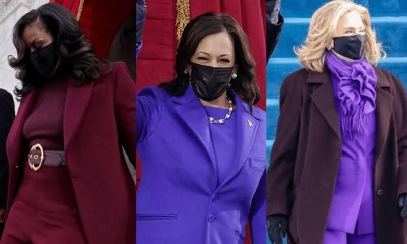 تقریبِ حلف برداری: کمالا ہیرس، مشعل اوباما اور ہیلری کلنٹن نے جامنی لباس کیوں پہنا؟