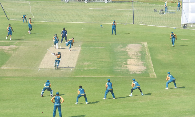 KARACHI: Members of Pakistan squad undergo a practice session at the National Stadium on Thursday in preparations for the first Test against  South Africa, which begins at the same venue on Jan 26.—Tahir Jamal/White Star