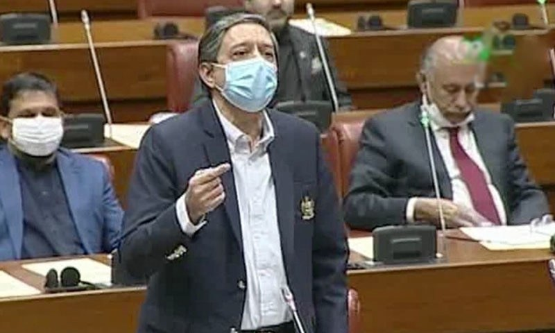 In this file photo, Senate Deputy Chairman Saleem Mandviwala speaks in the Senate. — DawnNewsTV/File