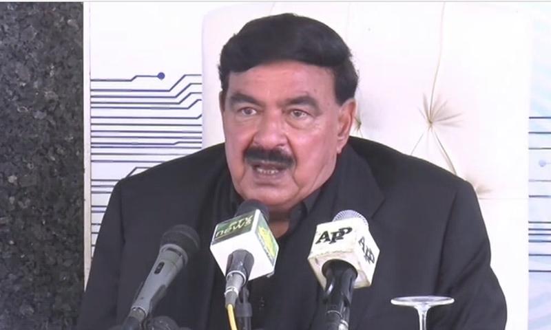 Interior Minister Sheikh Rasheed Ahmed speaks to the media in Karachi. — DawnNewsTV