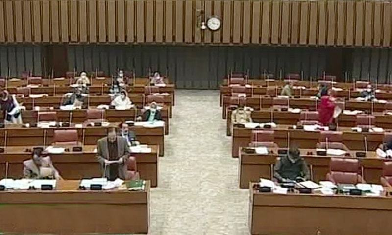 The opposition staged a walkout in the senate over lack of a satisfactory response from the government on pertinent questions related to the CPEC Authority.  — Screen grab via DawnNewsTV
