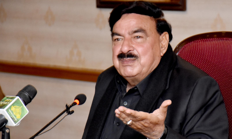 Interior Minister Sheikh Rashid Ahmed addresses the media in Karachi on Saturday. — PID