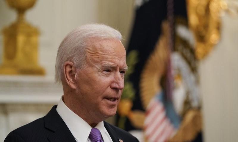 US President Joe Biden speaks in the State Dinning Room of the White House on Thursday. — AP