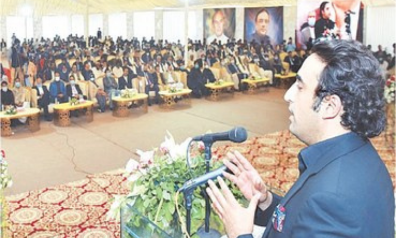 BILAWAL Bhutto-Zardari speaks at the inauguration ceremony  of the Sindh Industrial Trading Estate in Larkana on Friday.—PPI