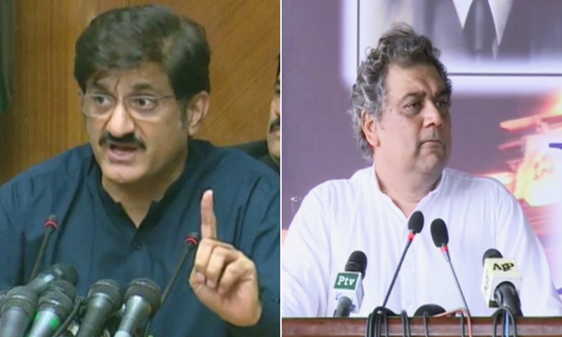 This combination photo shows Sindh Chief Minister Murad Ali Shah (L) and federal Minister for Shipping and Maritime Affairs Ali Haider Zaidi. – DawnNewsTV