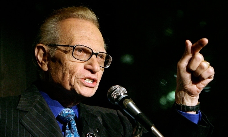 In this April 18, 2007 file photo, Larry King speaks to guests at a party held by CNN, celebrating King's fifty years of broadcasting in New York. — AP