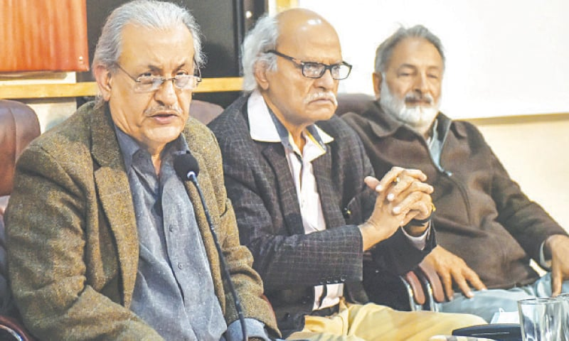 RAZA Rabbani speaks at the KPC on Saturday.—White Star