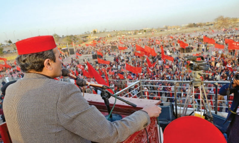 ANP vice-president Ameer Haider Khan Hoti addresses a public meeting in Peshawar on Saturday. — White Star