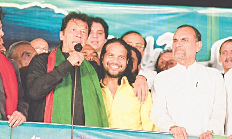 Imran Khan with his friend-turned-foe DJ Butt, during PTI dharna days