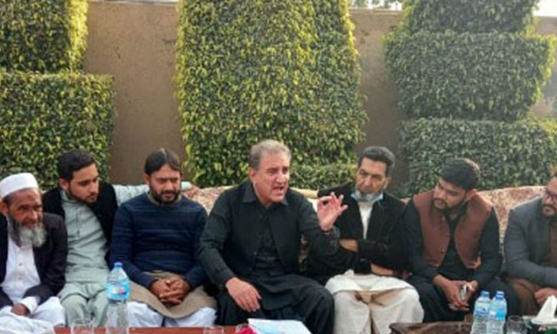 Foreign Minister Shah Mahmood Qureshi addresses PTI workers in Multan on Saturday. — PID