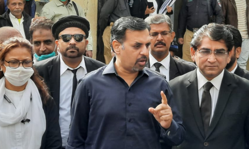 Pak Sarzameen Party chairman Syed Mustafa Kamal is seen after appearing in court in an accountability reference in Karachi on Saturday. — Photo courtesy: PSP Twitter