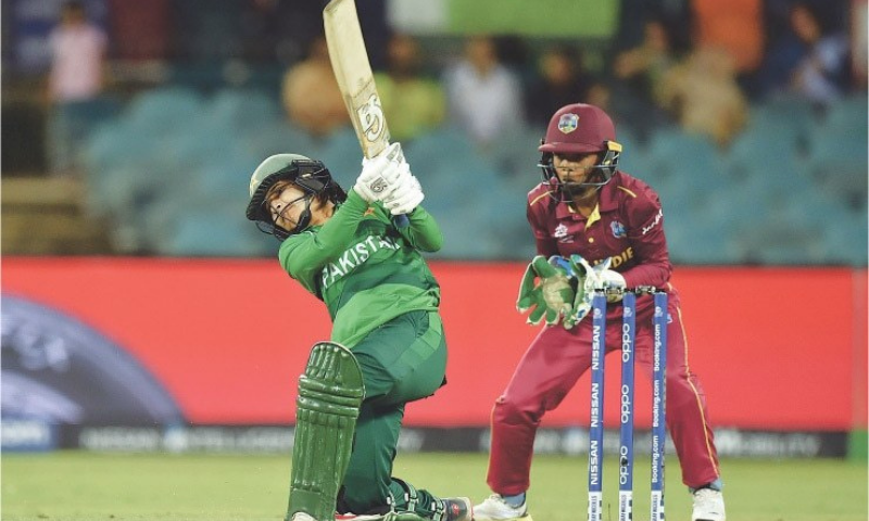 In this Feb 2020 file photo, Pakistan opener Javeria Khan plays a shot as West Indies wicket-keeper Shemaine Campbelle looks on during their ICC Twenty20 World Cup match at the Manuka Oval. — AFP