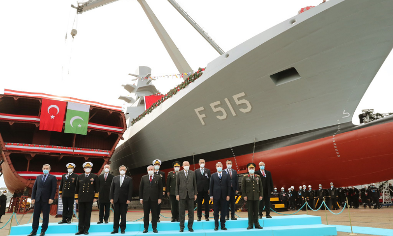 Turkish President Recep Tayyip Erdogan attends the launching ceremony of the welding of the third ship to be constructed for Pakistan Navy under MILGEM project. — Photo courtesy: Radio Pak