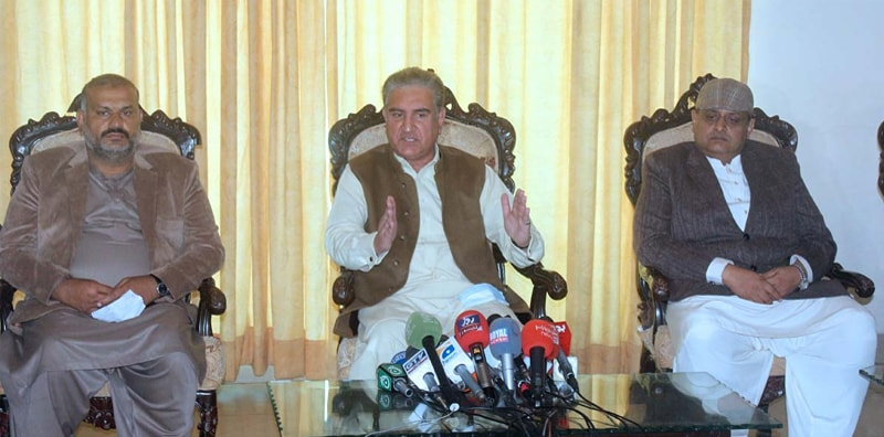 FOREIGN Minister Shah Mahmood Qureshi speaks to reporters.—APP