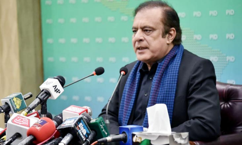 Information Minister Shibli Faraz addresses a press conference in Islamabad. — PID/File