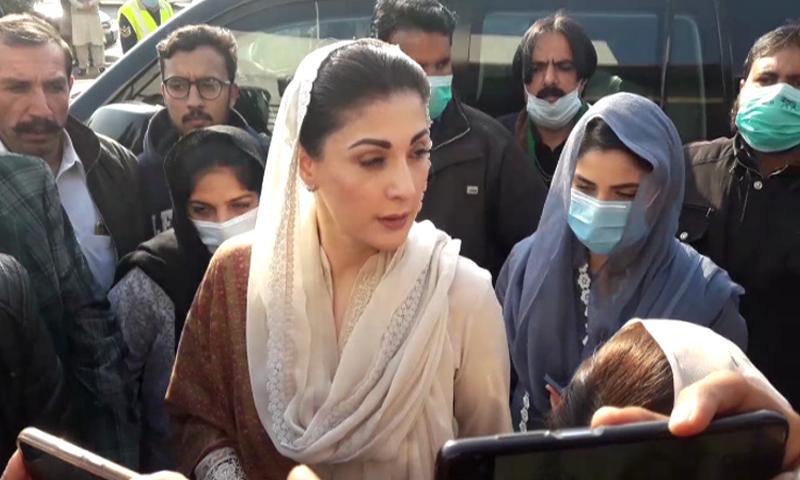 PML-N Vice President Maryam Nawaz speaks to reporters in Islamabad on Monday. — DawnNewsTV