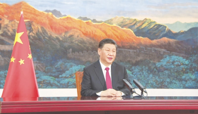 THIS video grab taken from the website of World Economic Forum shows Chinese President Xi Jinping speaking at the summit's opening session.—AFP