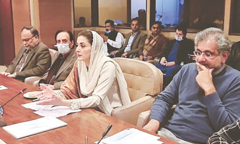 PML-N vice president Maryam Nawaz addresses the party's parliamentary groups' meeting on Monday.—White Star