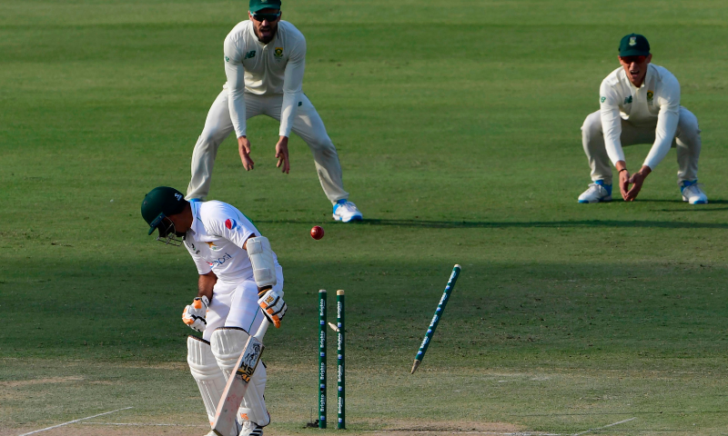 Abid Ali is bowled out by South Africa's Kagiso Rabada (unseen) during the first day of the first Test between Pakistan and South Africa at the National Stadium in Karachi on January 26. — AFP