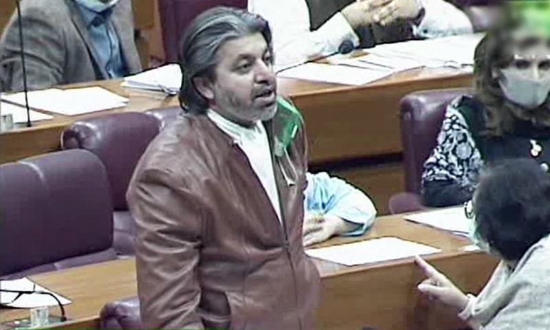 Minister of State for Parliamentary Affairs Ali Muhammad Khan speaks in the National Assembly on Tuesday. — DawnNewsTV