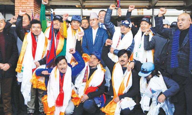 Kathmandu: The climbers cheer upon their arrival at Tribhuvan International Airport on Tuesday.—Reuters