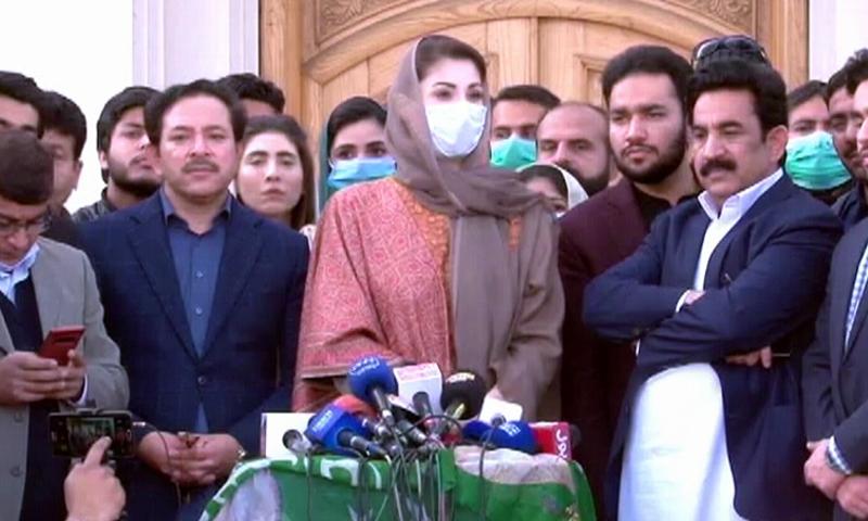 PML-N Vice President Maryam Nawaz addresses the media outside Khokhar Palace in Lahore. —DawnNewsTV