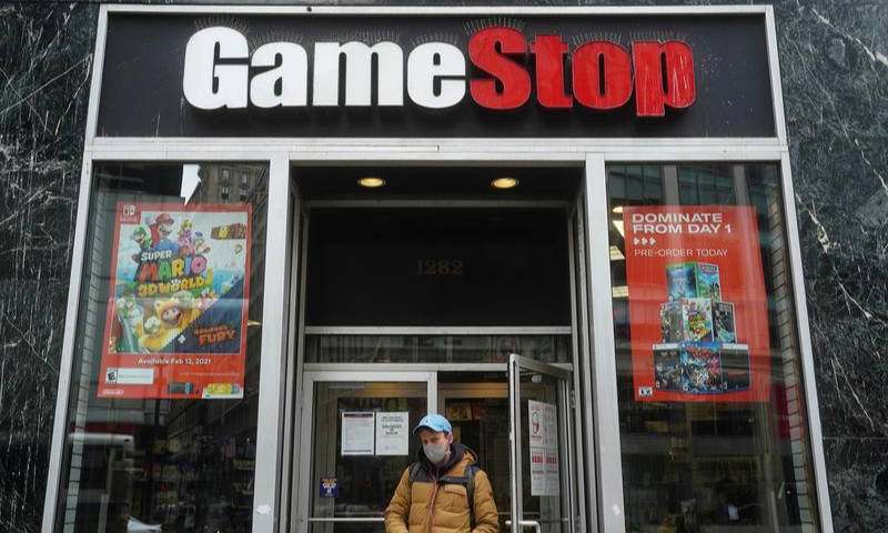 A GameStop is pictured amid the Covid-19 pandemic in the Manhattan borough of New York City, New York, US on January 27, 2021. — Reuters