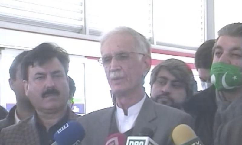 Federal Minister for Defence Pervez Khattak addresses the media after a surprise inspection of the Peshawar BRT office on Thursday. — DawnNewsTV