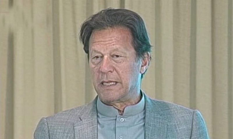Prime Minister Imran Khan addresses the launch ceremony of a documentary in Islamabad on Thursday. — DawnNewsTV