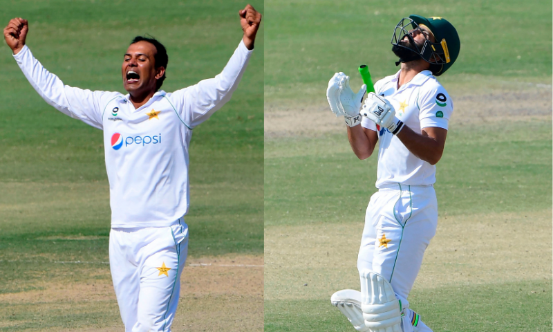Left: Nauman Ali celebrates after taking the wicket of South Africa's Temba Bavuma. Right: Fawad Alam prays after Pakistan's victory on the fourth day of the first Test match against South Africa at the National Stadium in Karachi on January 29. — AFP