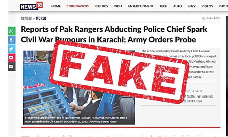 A screenshot of a fake news story picked up by TV channel CNN-News18 and its website in India | Dawn.com