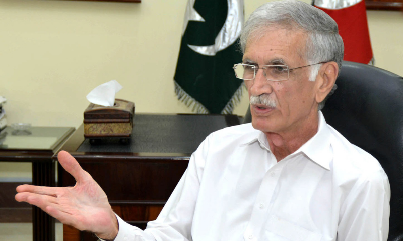 Defence Minister Pervez Khan Khattak on Sunday said that opposition leaders Nawaz Sharif and Asif Ali Zardari would soon be behind bars because of their corruption. — Photo courtesy: Radio Pakistan/File