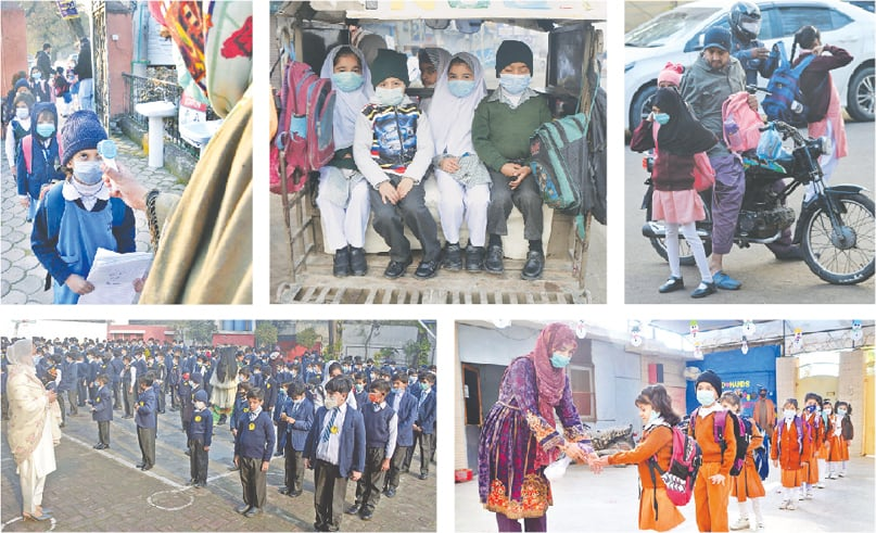 (Clockwise) Temperature of students being checked at the entrance of a school in Islamabad on Monday. The government reopened educational institutions in the second phase from grade 1 to 8 after keeping them closed as a preventive measure against the novel coronavirus. Students wear face masks to protect against coronavirus while on their way to school by a rickshaw in Peshawar. Students are being helped with their bags as they arrive at their school in Karachi. A teacher sanitising a student's hands at a school in Hyderabad. The teacher and students, wearing facemasks, performing assembly at a school in Lahore.—APP / AP / AFP / Online